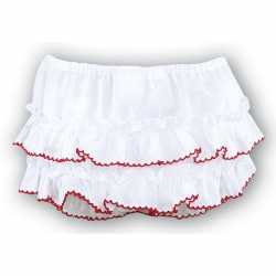 Sarah Louise baby girls frilly knicker in white red