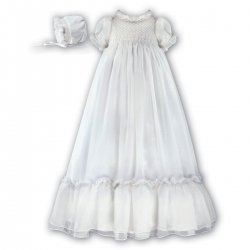 Sarah Louise girls christening robe in white with FREE KEEPSAKE BAG