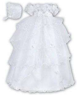 Girls Christening Gown And Bonnet White Layered by Sarah Louise