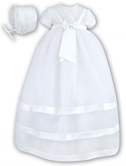 Sarah Louise White Bow Christening Gown And Bonnet
