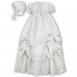 Sarah Louise Ivory Silk Heirloom Christening Gown Free Keepsake Bag Free Delivery