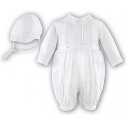 Boys white or blue or ivory christening romper suit with hat long sleeved