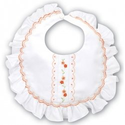 Ivory smocking bib with peach flowers embroidery