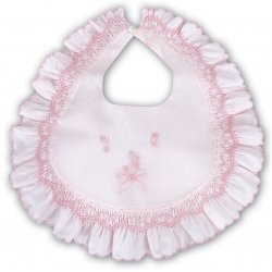 Beautiful Pink Bib With Smocking And Flower Embroideries By Sarah Louise