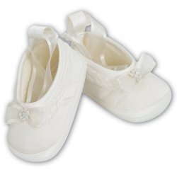 Sarah Louise Baby Girls Ribbons Beads Diamante Ivory Christening Shoes