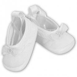 Baby Girls Sarah Louise Ballerina White Christening Shoes