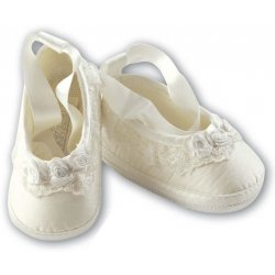 Christening Shoes For Girls Ivory Like Silk By Sarah Louise