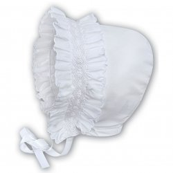 Sarah Louise baby Girls white Smocked Bonnet