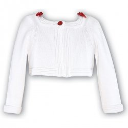 Sarah Louise babies girls and toddler girls white cardigan red flowers