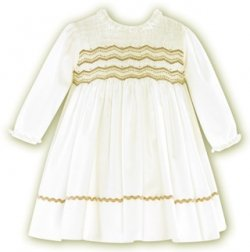 SALE Elaborately smocked Sarah Louise ivory dress with brown embroideries