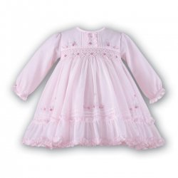 Sarah Louise Smocked Dress Decorated With Pink Frills