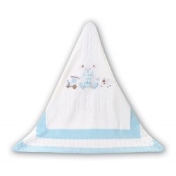Sarah Louise Baby Boys Teddy Bear White Shawl Or Blanket
