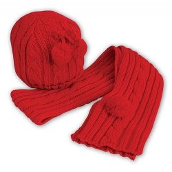 Baby Knitted Red Hat And Scarf Set By Sarah Louise