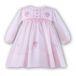 Baby Girls Pink Dress Embroidered Pink Flowers By Sarah Louise