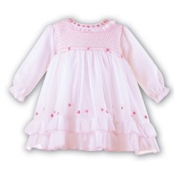 Sarah Louise Baby Girls Pink Smocked Dress Smocked Across Chest
