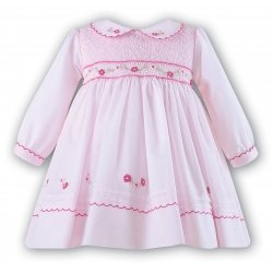 Baby Girls Dress In White with Pink Embrodered By Sarah Louise