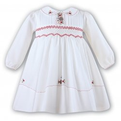 Sarah Louise Baby Girls Ivory Smocked Dress