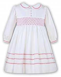 Sarah Louise Baby Girls White Dress with black embroideries