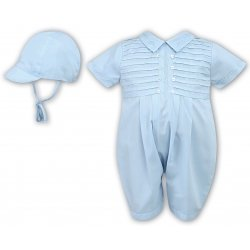 Sarah Louise Baby Boys Blue Romper Outfit With Pleated Front And Cap