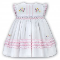 Sarah Louise Baby Girls White Pink Smocked Dress
