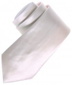 Boys white tie in shiny satin fabric