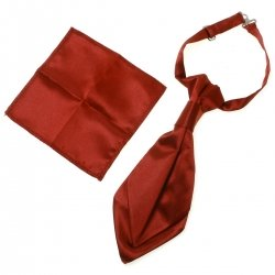 Boys Burgundy Cravat with Handkerchief