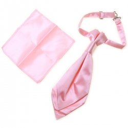 Boys Pink Cravat And Pink Handkerchief Set