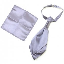 Boys Grey Silver Cravat With Handkerchief