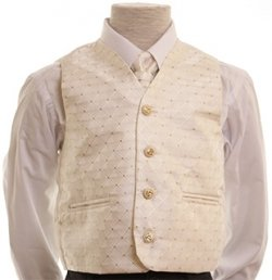 Glitter 3 piece boy ivory waistcoat set with gold glitters