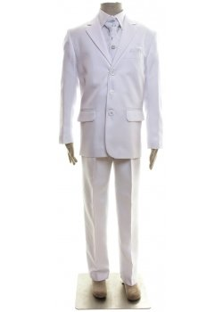 Boys White Suit With Waistcoat Cravat And Handkerchief