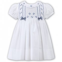 Sarah Louise Baby Girls White Navy Smocked Dress With Bows
