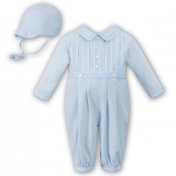 Sarah Louise Baby Boys Long Sleeved Blue Pleated Romper Outfit