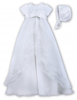 Sarah Louise Baby Girls Organza Overlay Flower Embroidered Christening Baptism Gown