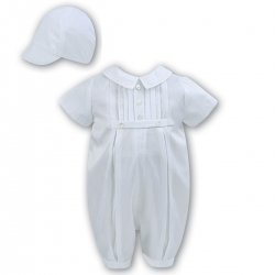 Silk Like Baby Boys White Romper With Hat By Sarah Louise