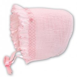 Baby Girls Pink Smocked Bonnet By Sarah Louise
