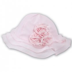 Baby Pink Sun Hat With Roses By Sarah Louise