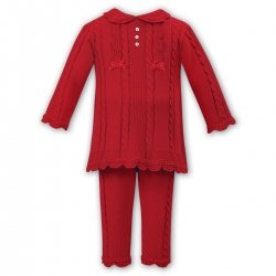 Sarah Louise Girls Red Knitted Two Piece Set