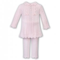 Sarah Louise Girls Pink Knitted Two Piece Set