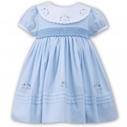Sarah Louise Baby Girls Blue Smocked Embroidered Dress With White Collar