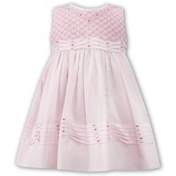 Sarah Louise Girls Spring Summer Pink Smocked Embroidered Dress