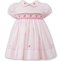 Girls Traditional Smocked Pink Dress By Sarah Louise