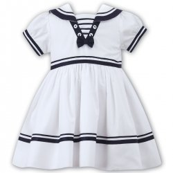 Sarah Louise Baby Girls White Navy Nautical Dress