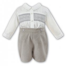 Sarah Louise Baby Boys Ivory Beige Smocked Shirt And Shorts Set