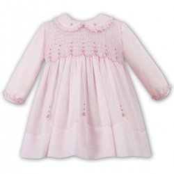 Sarah Louise Girls Pink Smocked Dress Frilly Pink Collar