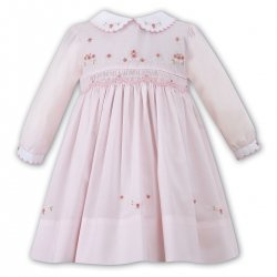 Sarah Louise Girls Pink Smocked Dress White Collar