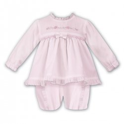 Sarah Louise Baby Girls Pink Smocked Dress With Bloomer Shorts
