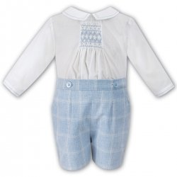 Sarah Louise Baby Boys Ivory Smocked Top Blue Check Outfit
