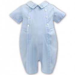 Elegantly Baby Boys Summer Smart Romper In Blue By Sarah Louise