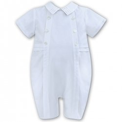 Very Elegant Baby Boys White Romper By Sarah Louise