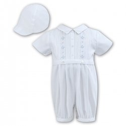 Sarah Louise Baby Boys White Blue Embroidered Pleated Romper With Hat